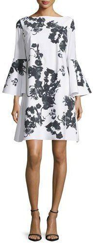 La Petite Robe di Chiara Boni Bell-Sleeve Blossom Shift Dress, Black/White