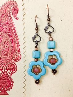 Turquoise Blue flower and copper earrings