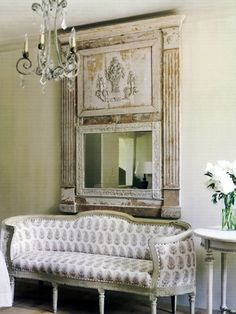 white living area shabby chic vintage The half columns and mirror and fireplace surround hanging on my living room wall Decor, Furniture, Decorating Blogs, Interior, Home Decor, House Interior, Trumeau Mirror, Interior Design, Mirror
