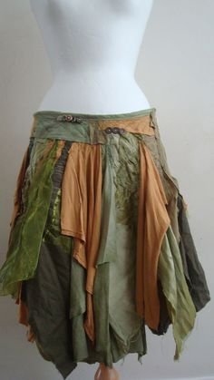 Upcycled Skirt Woman's Clothing Green Brown Tribal Cotton Linien Organza Layers
