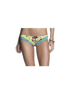 Cute hipster cut bikini bottoms. Floral green turquoise pattern. Bottoms are reversible. Town & Country Bottoms by Maaji Swimwear. Clothing - Swimwear - Bottoms Alberta Canada