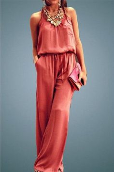 Chic Solid Color Spaghetti Strap Wide Leg Loose Jumpsuit For Women