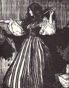 The maiden fetched the magic wand, and then she took her stepsister's head and dropped three drops of blood from it.  Illustration by Arthur Rackham for Sweetheart Roland, a fairy tale by the Brothers Grimm