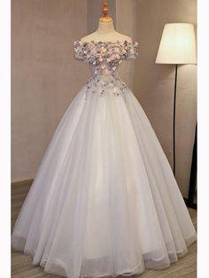 A-line Off-the-shoulder Tulle Applique Chic Long Prom Dress Evening Dress AM685