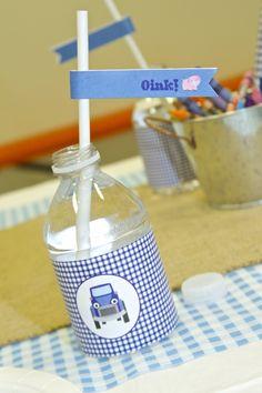 Little blue truck party ideas; little blue truck water bottle labels; little blue truck party theme