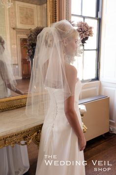 Wedding Veil FRANKIE: FRANKIE is a delicate two layer waist length veil with a simple pencil finish and scattered clear Swarovski diamantes. bridal, veil  hair up, blonde