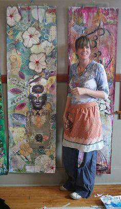 wallpaper panels, mixed media, Anahata Katkin workshops