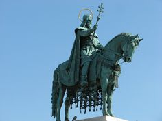 Equestrian statue of I. (Szent) István founder of the Kingdom, the first saint King of Hungary ('Stephen I of Hungary'). Equestrian Statue, Buda Castle, Weather Underground, Cemetery Art, Equine Art, Horse Art, Monuments, Hungary, Statues