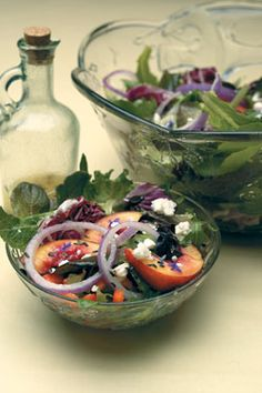 This summer salad recipe comes from the organizers of the Celebrate Lavender Festival, which happens at the peak of harvest every year. It features a tangy lavender dressing so versatile you will want to make extra to use for dipping and dusting all manner of raw and cooked vegetables.data-pin-do=