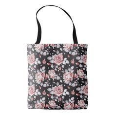 Vintage Pink Floral Pattern Tote Bag - unusual diy cyo customize special gift