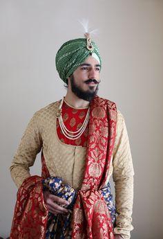 Prince Punjab King Sherwani Maharaja menswear menstyle traditional culture Sikh Singh Sardar green turban