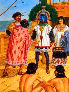 Hernan Cortés venerated as the god Quetzalcoatl by the Aztec villagers