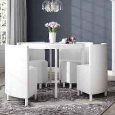 Celise Dining Set with 4 Chairs Metro Lane Colour: White - White - Size: Small Glass Dining Set, Buy Dining Table, Corner Dining Set, Round Dining Set, Small Dining, Table And Chairs, Kitchen Tables, Room Chairs, Outdoor Bar Furniture