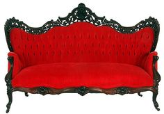 J & JW Meeks Hawkins Patterned Red Sofa - by Fontaine's Auction Gallery