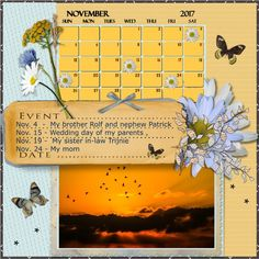 November 2017 Calendar Challenge by Speedy Hi Speedy , here as promise my Nov.2017 calendar page made with the loving - Nov. 2016 HSA - Essentials6 , thanks for the fun Speedy , aswel Eileen for her loving kit font-Verdana- shadowed a bit -  pict. free to use from Pixabay