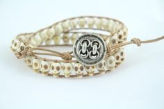 Urraca Mesa - Double Wrap Natural Howlite Skulls and Leather Bracelet by Leftovers4Dinner on Etsy