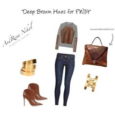 """""""Deep Brown with Trilogi Tote"""" by info-186 on Polyvore"""
