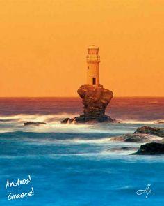 The lighthouse Andros Greek Island Hopping, Safe Harbor, Submarines, Statue Of Liberty, Greece, Art Photography, Sunrise, Landscape, Lighthouses