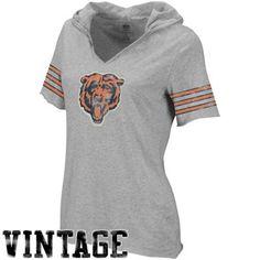 Reebok Chicago Bears Ladies Classics Hooded Football Premium T-Shirt - Ash Chicago Bears Women, C Bear, Bears Football, Football Season, Reebok, Bunny, Clothes For Women, My Style, Random