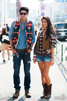 Couple | Japanese fashion and Tokyo street style - Tokyofaces.com  Why is the girl so pretty?