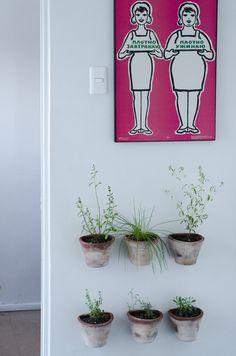 Una buena idea para armar una mini huerta en la cocina: con maceteros de greda colgantes