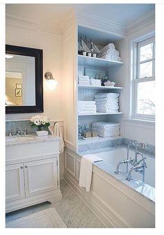 Bathroom Renovation: The Before Master bath inspiration, tub/wall trim, marble, built-in storage. Bathtub Remodel, Master Bath Remodel, Bad Inspiration, Bathroom Inspiration, Dream Bathrooms, Beautiful Bathrooms, Master Bathrooms, Luxury Bathrooms, White Bathrooms