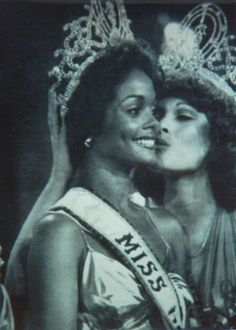 Miss Trinidad and Tobago, Janelle Commissiong getting crowned as the first Black Miss Universe, 1977.