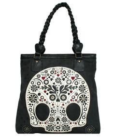 Sugar Skull w/Pola Dots Tote Bag, $65