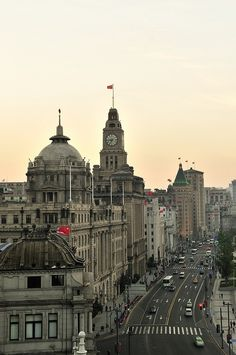 The Bund is a riverfront boardwalk that overlooks the Huangpu River