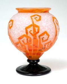 Chasen Antiques, French Glass, Le Verre Français for sale. Exotic Art, French Art, Vases, Stained Glass, Art Nouveau, Glass Art, Washington, Artisan, Orange
