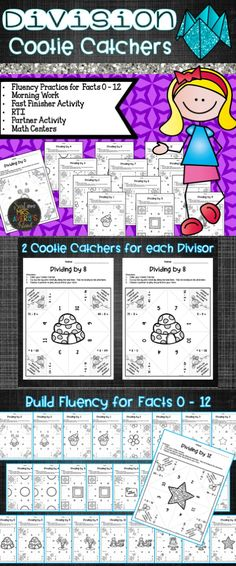 Do your math students need practice with learning their division facts or increasing their fluency?  These fun no-prep Division Cootie Catchers are a perfect math resource to engage your students and help them master their division facts! #teachersfollowt