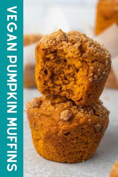The best vegan pumpkin muffins, ever! These quick and easy muffins are made with a sweet brown sugar crumb topping. Super moist and fluffy. Add chocolate chips or nuts to the batter for extra goodness! Homemade Pumpkin Puree, Canned Pumpkin, Vegan Pumpkin, Pumpkin Spice, Vegan Chocolate, Chocolate Chips, Pumpkin Muffin Recipes, Dairy Free Milk, Best Vegan Recipes