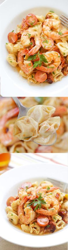 Amazing recipe for creamy Shrimp & Sun-Dried Tomato Tortellini. Budget-friendly and tastes better than any Italian restaurant's! | rasamalaysia.com