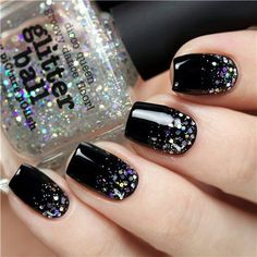 black nails with glitter