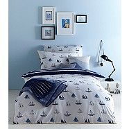 Add a nautical touch to a boy's bedroom with this bedding set from our exclusive J by Jasper Conran range. Perfect for maritime d cor, it features a boat motif all over with stripes on the reverse and is made purely from super-soft cotton.
