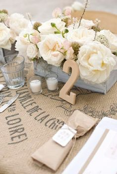 Cute wedding table setting