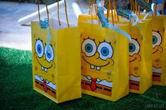 Inspire your Party ® Spongebob Birthday Party, 1 Year Old Birthday Party, 6th Birthday Parties, Baby Birthday, Spongebob Party Ideas, Birthday Ideas, Diy Party Bags, Party Favor Bags, Party Crafts