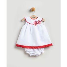 Vestido de bebé niña Coco Acqua blanco con lazo Baby Dress Design, Baby Girl Dress Patterns, Baby Clothes Patterns, Frocks For Girls, Little Girl Dresses, Girls Dresses, Baby Girl Fashion, Toddler Fashion, Baby Birthday Dress