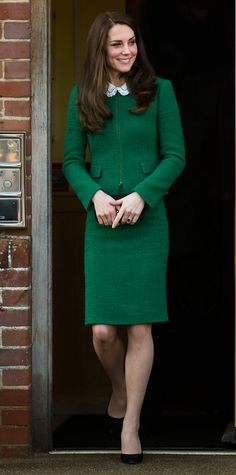 Going bold in a green skirt suit from Hobbs, Kate Middleton made a touching visit to the East Anglia's Children's Hospices. A Gerard Darel blouse with a sweet Peter Pan collar gave her look added flair, while black pumps anchored the ensemble in timelessness.
