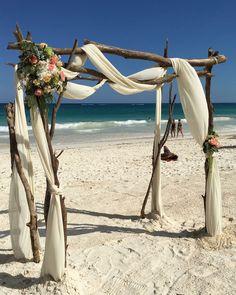 CBG212 weddings riviera Maya rustic huppa with flowers/ gazebo o arco rústico Riviera Maya, Cherry Blossom Decor, Wedding Decorations, Wedding Ideas, Make Design, Tulum, Canopy, Wedding Ceremony, Gazebo