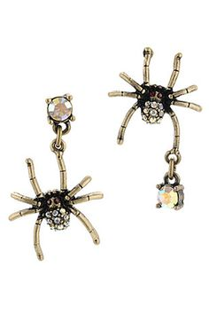 Betsey Johnson Crystal Spider Earrings, $35, available at Lord and Taylor.
