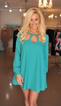 Dottie Couture Boutique - Teal Cut Out Dress, $38.00 (http://www.dottiecouture.com/teal-cut-out-dress/)