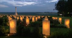 Candlelight service at Thiepval Memorial during WWI Centenary Commemoration Somme France July 1 2016