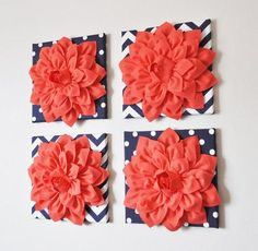 Set of Four Coral Dahlias on Navy White Prints Canvases