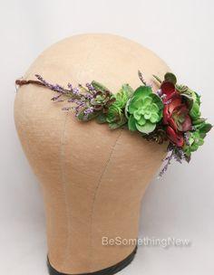 Succulent Flower Crown Wedding Headband Flower by BeSomethingNew