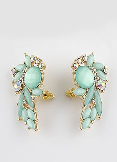Green Gemstone Gold Stud Earrings S.Kr.38.18