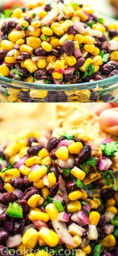 Make this Easy Black Bean and Corn Salsa in just 10 minutes! It's fresh and colorful, perfect for parties, so easy to make, and very addictive! Potluck Recipes, Healthy Salad Recipes, Side Dish Recipes, Appetizer Recipes, Vegetarian Recipes, Appetizers, Side Dishes, Mango Recipes, Bean Recipes