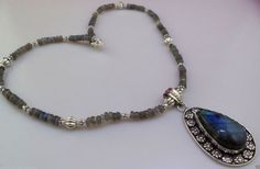 Items similar to 45  gram marvelous LABRADORITE handmade BEADED necklace on Etsy
