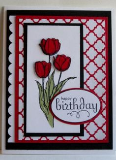 Red Tulip Birthday by OSusanna - Cards and Paper Crafts at Splitcoaststampers