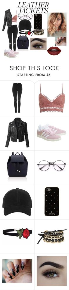 """""""girls night out"""" by sierrab213 ❤ liked on Polyvore featuring Topshop, Zimmermann, LE3NO, adidas, Barneys New York, rag & bone, Kate Spade, Avon and leatherjacket"""